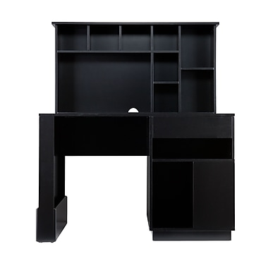 SEI Poplar and MDF Torres Desk and Hutch, Black