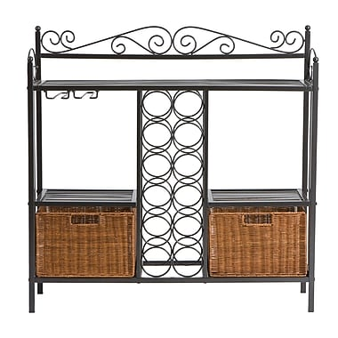 SEI 36in.H x 36 1/2in.W x 11in.D in.Celticin. Gunmetal Baker's Rack With Wine Storage, Gray