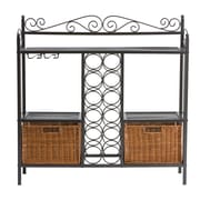 "SEI 36""H x 36 1/2""W x 11""D ""Celtic"" Gunmetal Baker's Rack With Wine Storage, Gray"