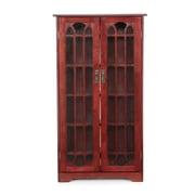 SEI Hardwood/Veneer Window Pane Media Cabinet, Cherry