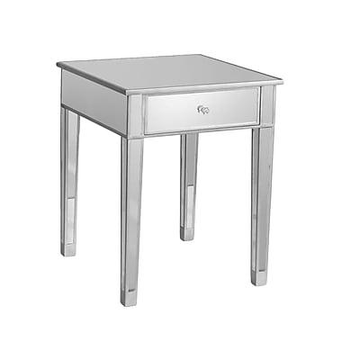 SEI Mirage Wood/Veneer Side Table, Silver, Each (OC9168R)