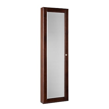 SEI Plywood Frame Wall Mount Jewelry Mirror, Warm Brown Walnut/Black Lining