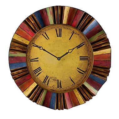SEI WS1963 MDF/Metal Analog Wall Clock, Multi-Color