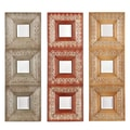 SEI 4 1/4in. x 4 1/4in. Medina 3 Piece Mirror Set, Rust/Earth/Moss