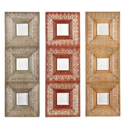 SEI 4 1/4 x 4 1/4 Medina 3 Piece Mirror Set, Rust/Earth/Moss