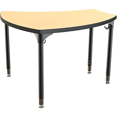 Balt Black Legs/Edgeband Small Shapes Desk Without Book Box, Fusion Maple
