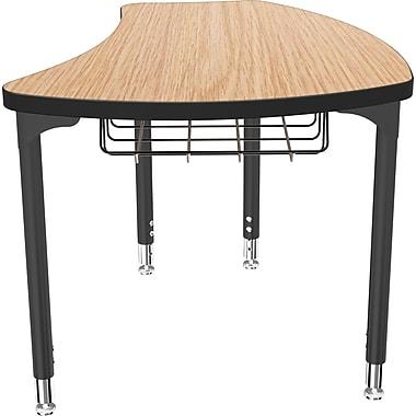 Balt Black Legs/Edgeband Small Shapes Desk With Black Book Basket, Castle Oak