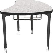 Balt Black Legs/Edgeband Small Shapes Desk With Black Book Basket, Gray Nebula