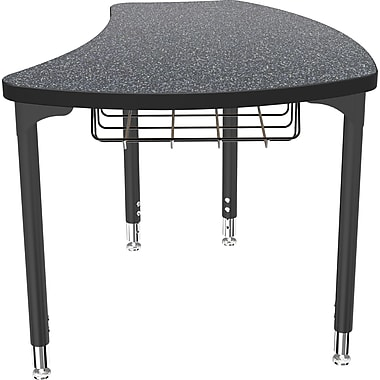 Balt Black Legs/Edgeband Small Shapes Desk With Black Book Basket, Graphite Nebula