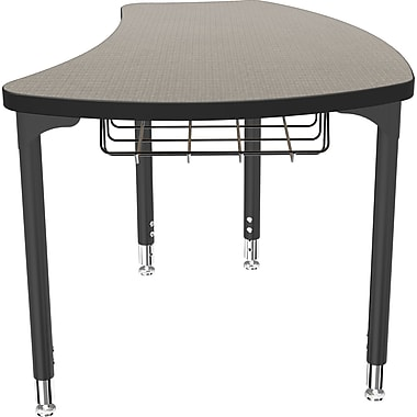 Balt Black Legs/Edgeband Small Shapes Desk With Black Book Basket, Pewter Mesh