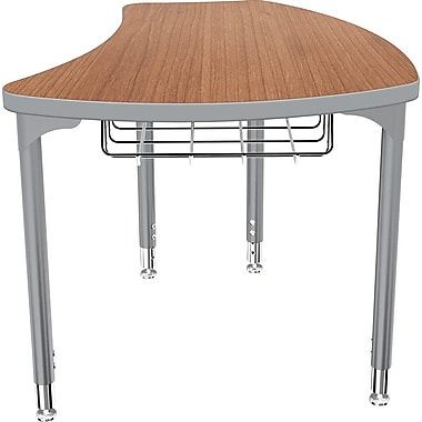 Balt Platinum Legs/Edgeband Small Shapes Desk With Platinum Book Basket, Amber Cherry