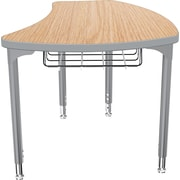 Balt Platinum Legs/Edgeband Small Shapes Desk With Platinum Book Basket, Castle Oak