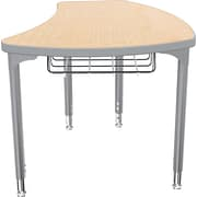 Balt Platinum Legs/Edgeband Small Shapes Desk With Platinum Book Basket, Fusion Maple