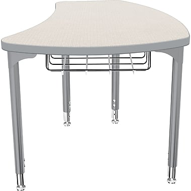 Balt Platinum Legs/Edgeband Small Shapes Desk With Platinum Book Basket, Gray Mesh