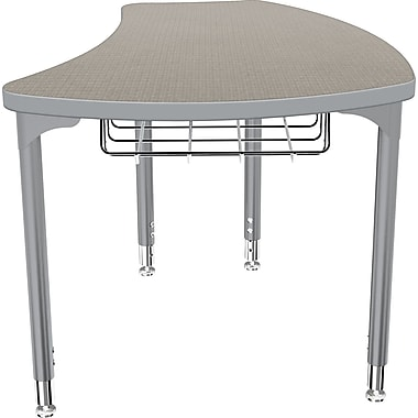 Balt Platinum Legs/Edgeband Small Shapes Desk With Platinum Book Basket, Pewter Mesh