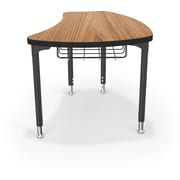Balt Black Legs/Edgeband Large Shapes Desk With Black Book Basket, Nepal Teak