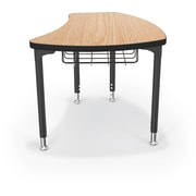 Balt Black Legs/Edgeband Large Shapes Desk With Black Book Basket, Castle Oak