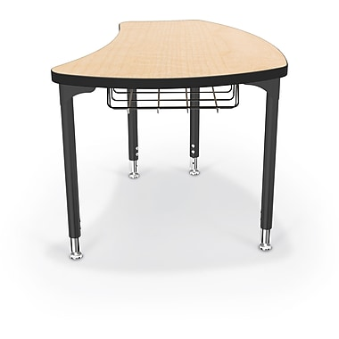 Balt Black Legs/Edgeband Large Shapes Desk With Black Book Basket, Fusion Maple