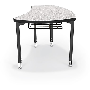 Balt Black Legs/Edgeband Large Shapes Desk With Black Book Basket, Gray Nebula
