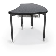 Balt Black Legs/Edgeband Large Shapes Desk With Black Book Basket, Graphite Nebula