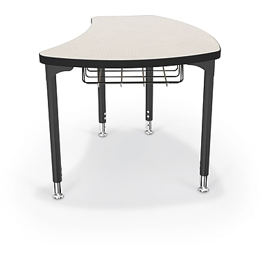 Balt Black Legs/Edgeband Large Shapes Desk With Black Book Basket, Gray Mesh