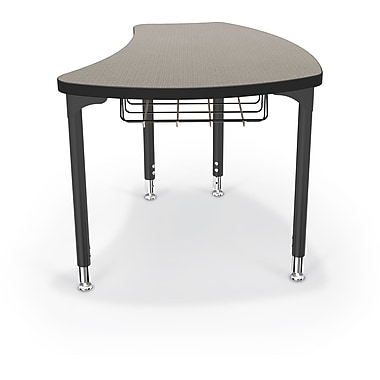 Balt Black Legs/Edgeband Large Shapes Desk With Black Book Basket, Pewter Mesh