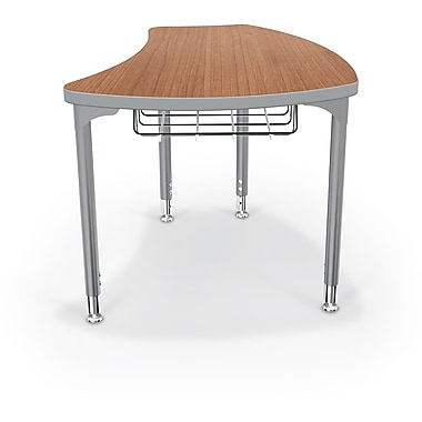 Balt Platinum Legs/Edgeband Large Shapes Desks With Platinum Book Basket