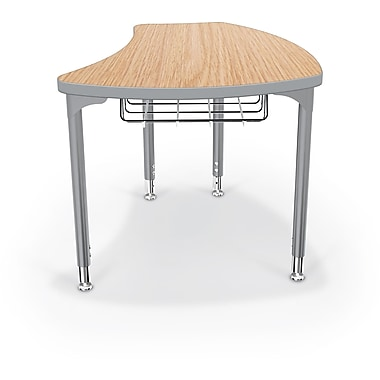 Balt Platinum Legs/Edgeband Large Shapes Desk With Platinum Book Basket, Castle Oak