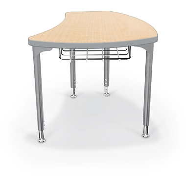 Balt Platinum Legs/Edgeband Large Shapes Desk With Platinum Book Basket, Fusion Maple