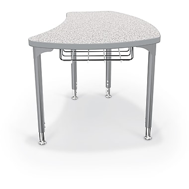 Balt Platinum Legs/Edgeband Large Shapes Desk With Platinum Book Basket, Gray Nebula
