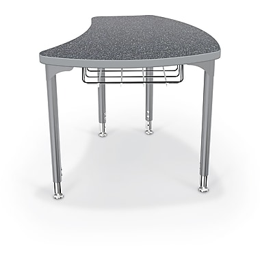 Balt Platinum Legs/Edgeband Large Shapes Desk With Platinum Book Basket, Graphite Nebula