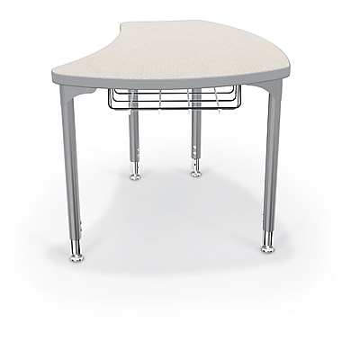 Balt Platinum Legs/Edgeband Large Shapes Desk With Platinum Book Basket, Gray Mesh