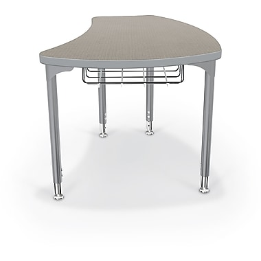 Balt Platinum Legs/Edgeband Large Shapes Desk With Platinum Book Basket, Pewter Mesh