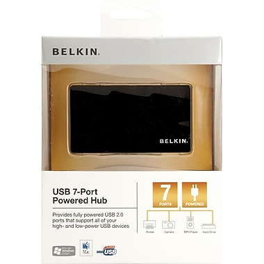 Belkin® 7 Ports Hi-Speed USB 2.0 Mobile Hub, Black