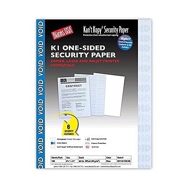 Blanks/USA® Kan't Kopy® 8 1/2in. x 11in. Security Papers, Void Blue, 100 Sheets/Pack