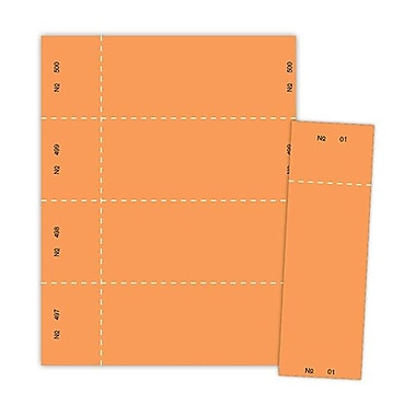 Blanks/USA® 2 3/4in. x 8 1/2in. Numbered 01-500 Digital Raffle Ticket, Orange, 500/Pack