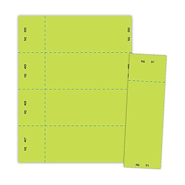 Blanks/USA® 2 3/4in. x 8 1/2in. Numbered 01-500 Digital Raffle Ticket, Green, 500/Pack