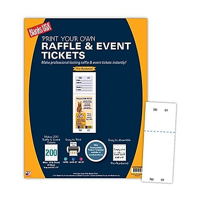 Blanks USA 2 1 8 x 5 1 2 Numbered 01 200 Digital Cover Raffle Ticket White