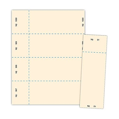 Blanks/USA® 2 3/4in. x 8 1/2in. Numbered 01-1000 Digital Index Raffle Ticket, Ivory, 1000/Pack