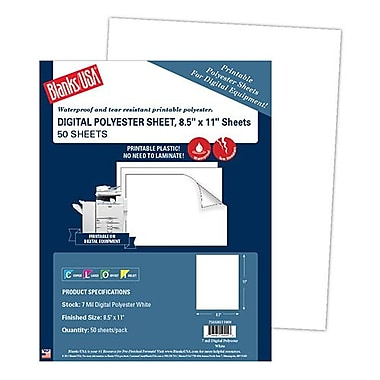 Blanks/USA® 11in. x 8 1/2in. 7 mil Digital Polyester Stock Synthetic Papers, White, 50/Pack