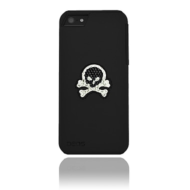 Deos SWAROVSKI Leather Case With Black & White Crystal Skull For iPhone 5, Black