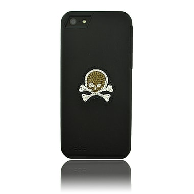 Deos SWAROVSKI Leather Case With Brown & White Crystal Skull For iPhone 5, Black