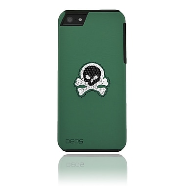 Deos SWAROVSKI Leather Case With Black & White Crystal Skull For iPhone 5, Green