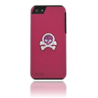 Deos SWAROVSKI Leather Case With Pink & White Crystal Skull For iPhone 5, Pink