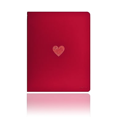 Deos SWAROVSKI Folio Case With Light Siam Crystal Heart For iPad, Red