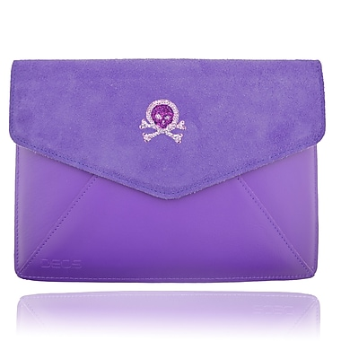 Deos SWAROVSKI Large Tech Clutch Case With Purple Crystal Skull For iPad, Purple
