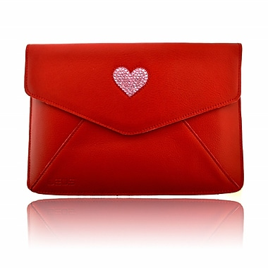 Deos SWAROVSKI Mini Tech Clutch Case With Light Rose Crystal Heart For iPad, Red
