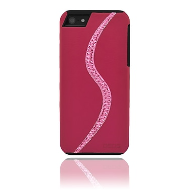 Deos SWAROVSKI Leather Case With Indian Pink Crystal Wave For iPhone 5, Pink