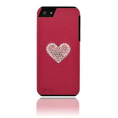 Deos SWAROVSKI Leather Case With Light Rose Crystal Heart For iPhone 5, Pink