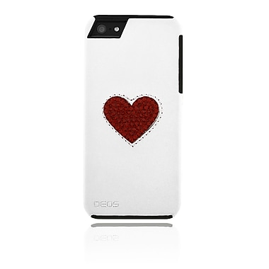 Deos SWAROVSKI Leather Case With Ruby Crystal Heart For iPhone 5, White